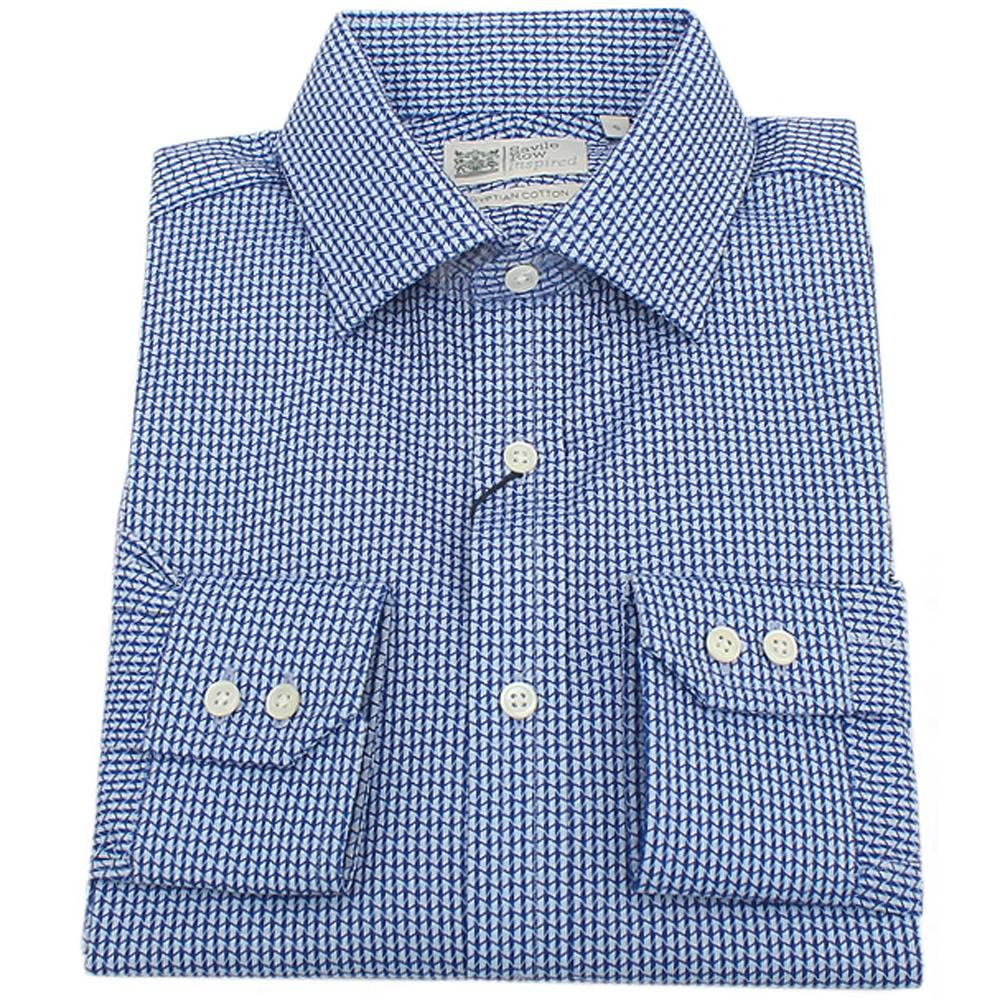 Savile Row Inspired Egyptian Cotton Blue White Men L Sleeve Shirt L
