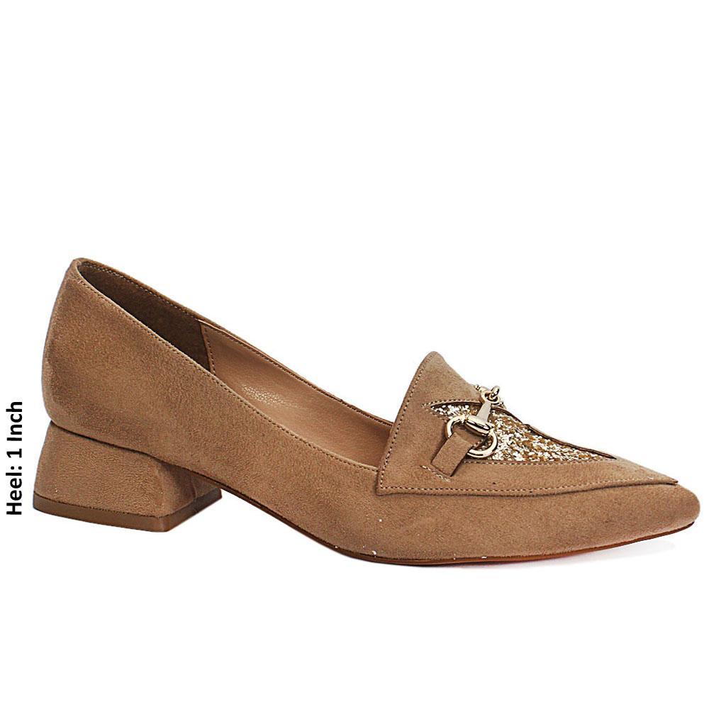 Khaki Suede Leather Low Heel
