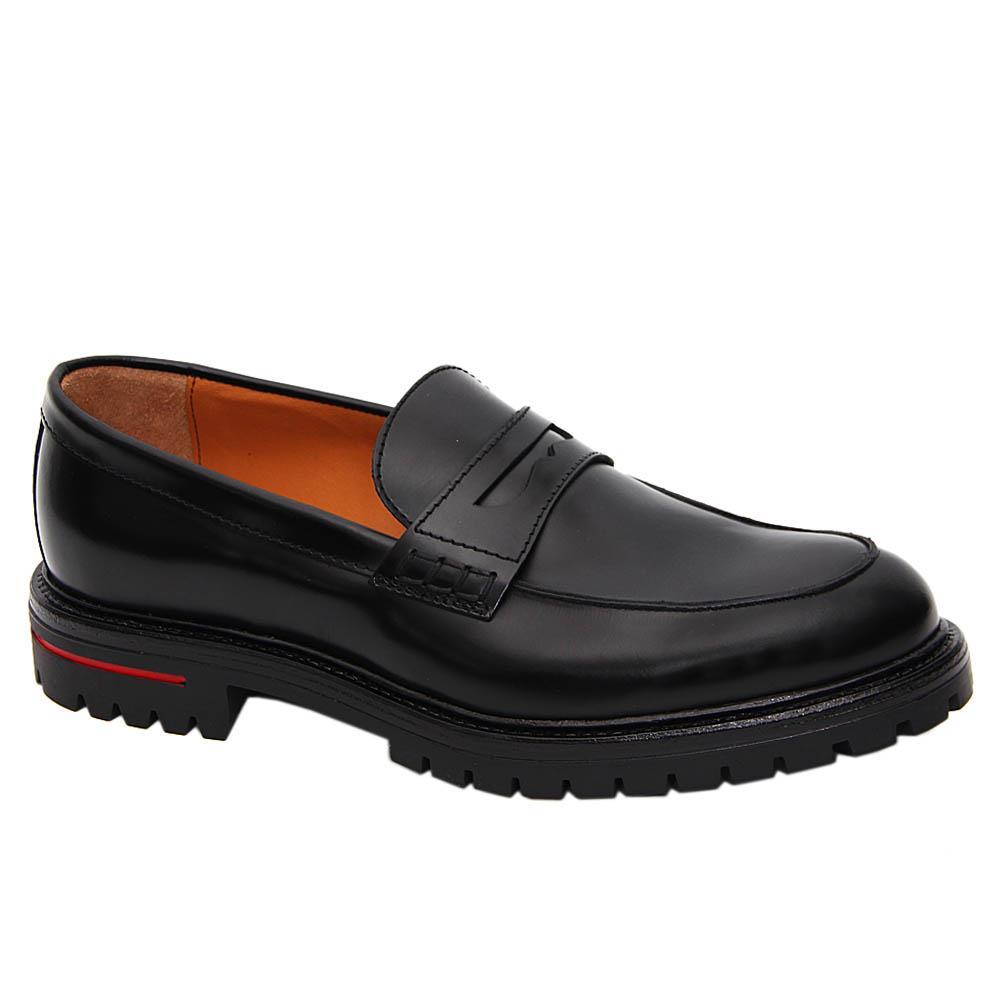 K Geiger Black Leo Harvey Leather Penny Loafers
