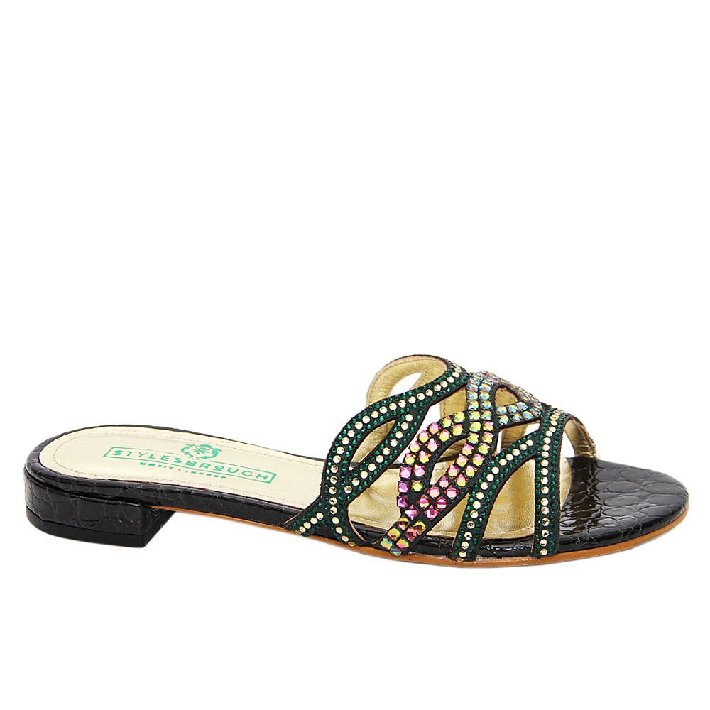 Green Clementine Studded Italian Leather Low Heel Slippers