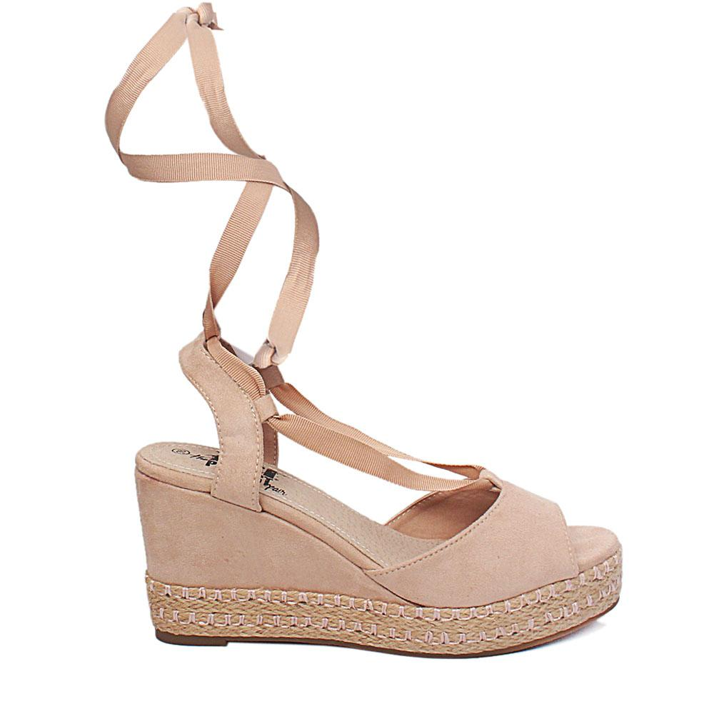 Beige Antelina Suede Leather Wedge