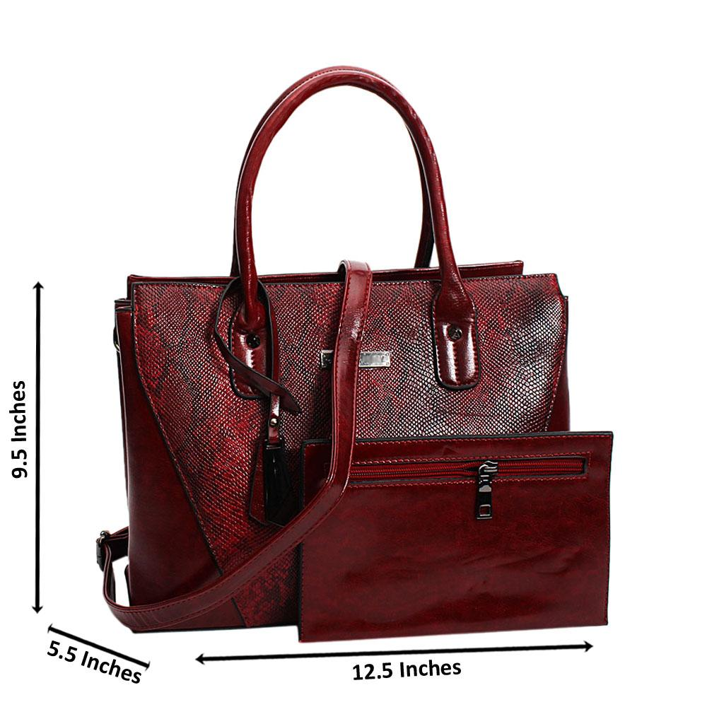 Wine-Donna-Mix-Snake-Leather-Medium-Tote-Handbag