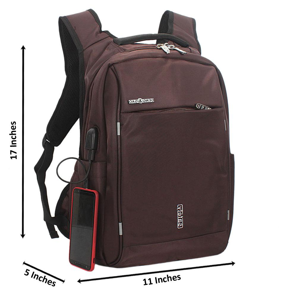 Brown Waterproof Fabric Laptop Backpack wt USB Connector