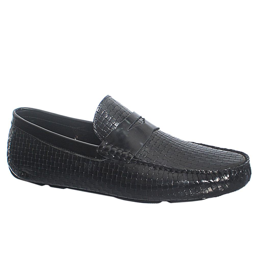 Black Cesaro Woven Style Italian Leather Drivers Shoes