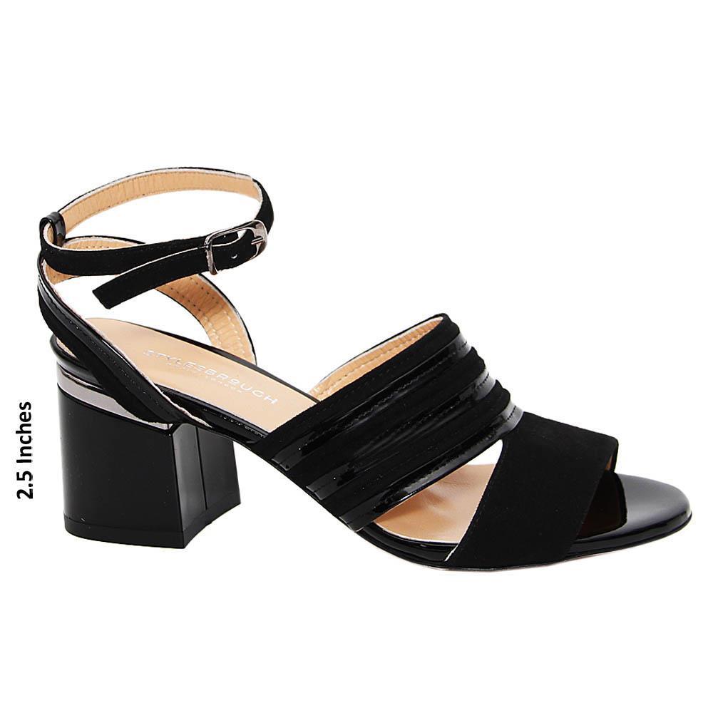 Black Viviana Tuscany Patent Leather Block Heel sandals