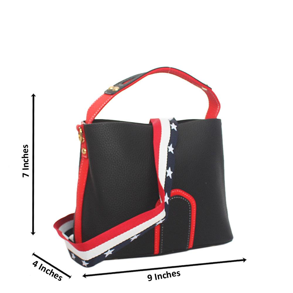Lover Black Red Leather Small Top Handle Handbag