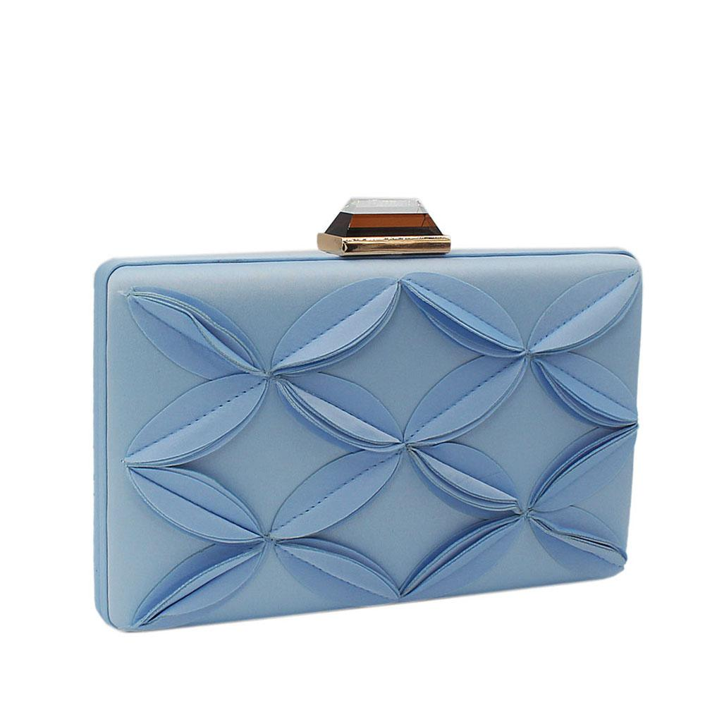Sky Blue Satin Flower Patterned Clutch Purse