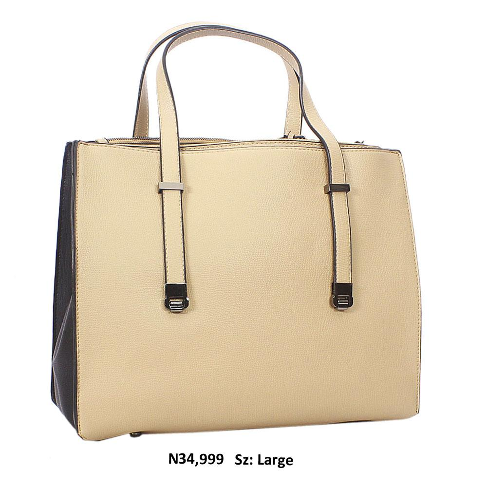 Beige Nina Black Leather Tote Handbag