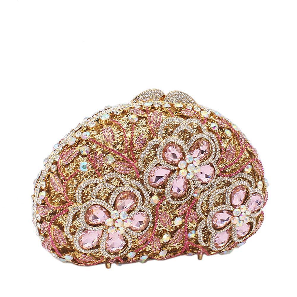 Gold Mix 3-Petals Diamanted Crystals Clutch Purse