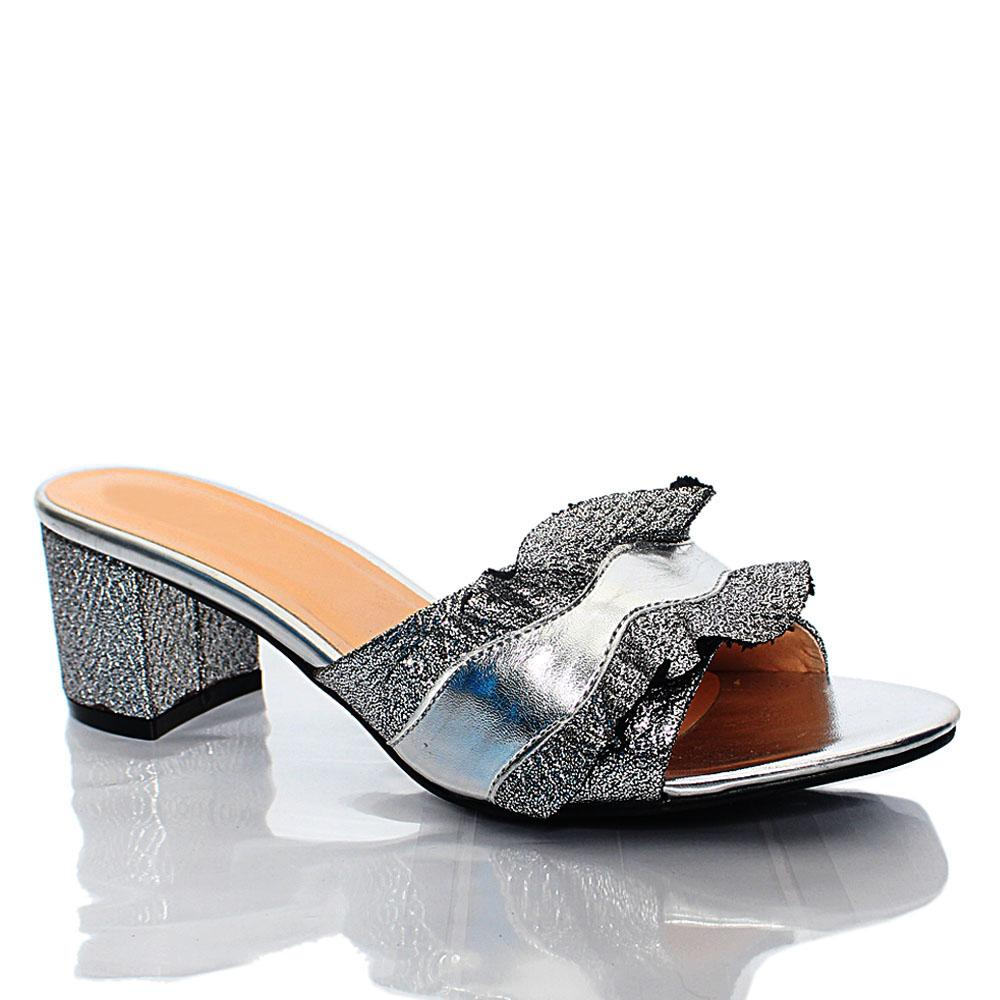 Silver LL Camila Leather Mule Slippers