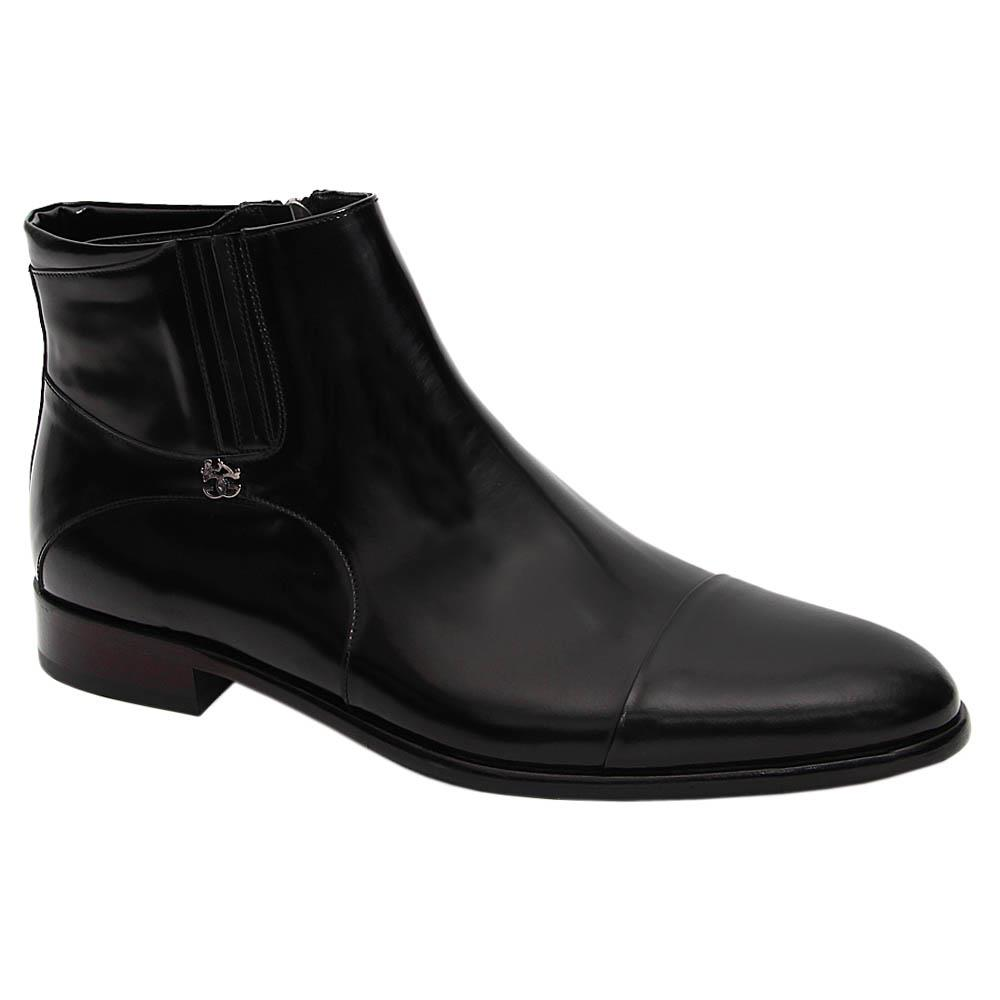 Black Alonso Italian Leather Side Zip Dress Boot