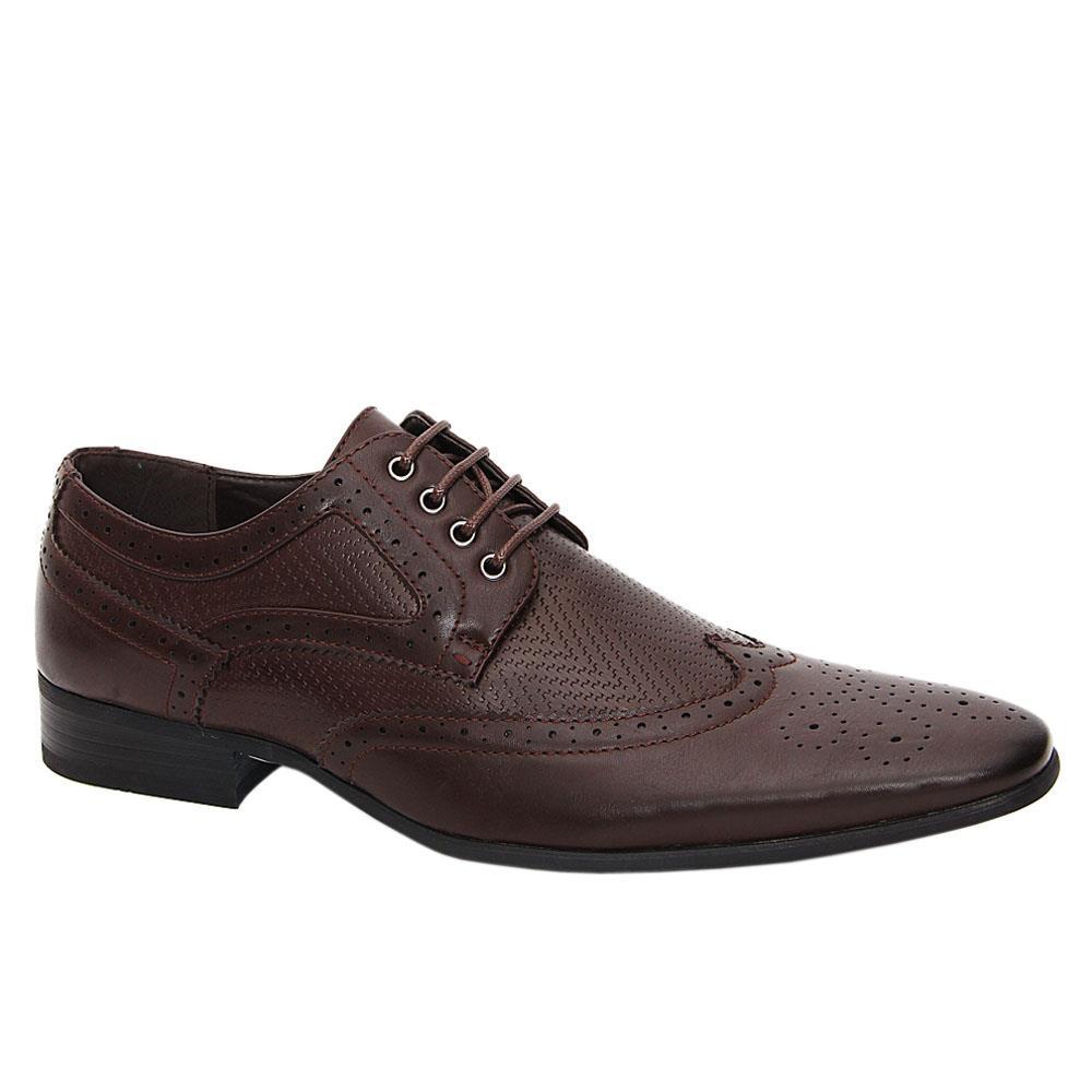 Coffee Scott Leather Men Derby Shoes