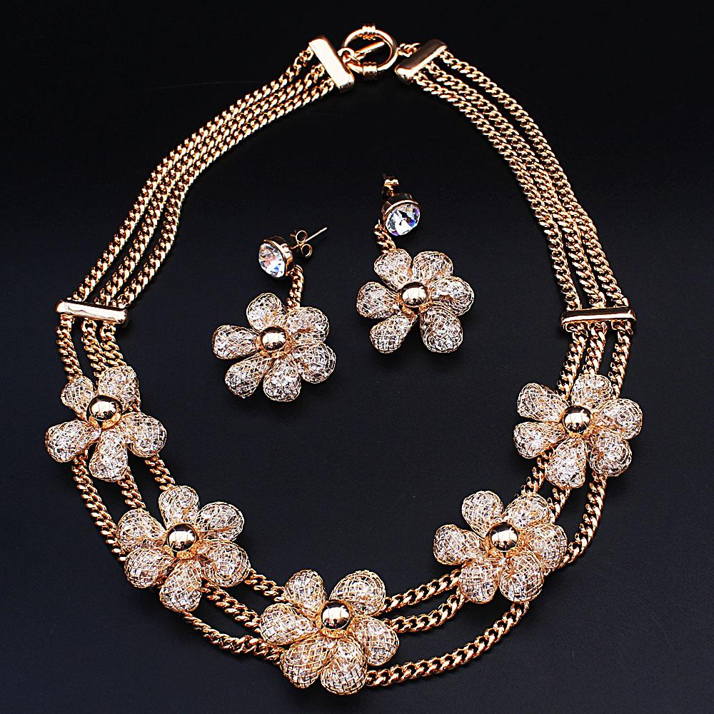 Diane Ross Gold Plated Ice Stones Necklace and Earrings Set
