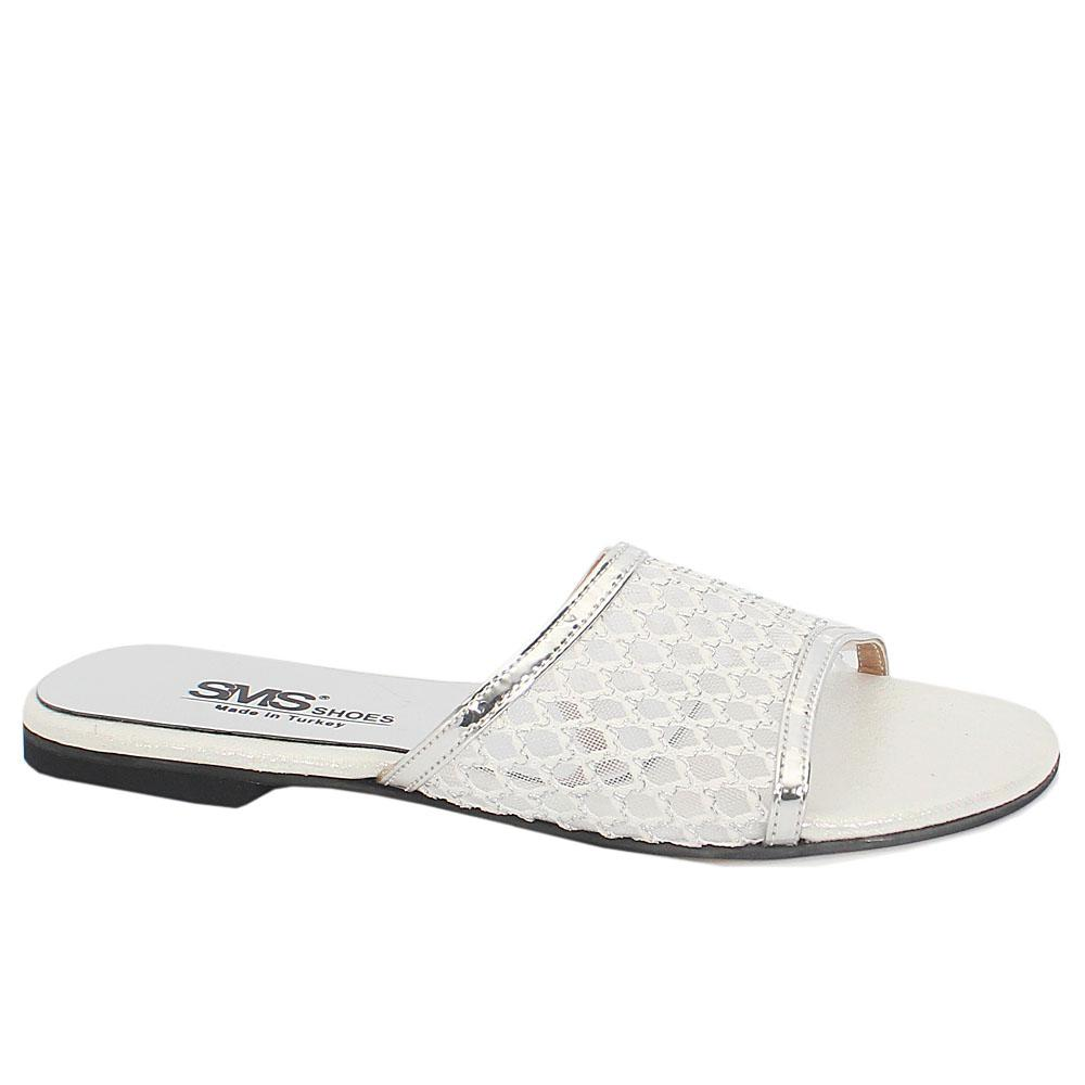 White Silver Leather Open Toe Mesh Flat Slippers