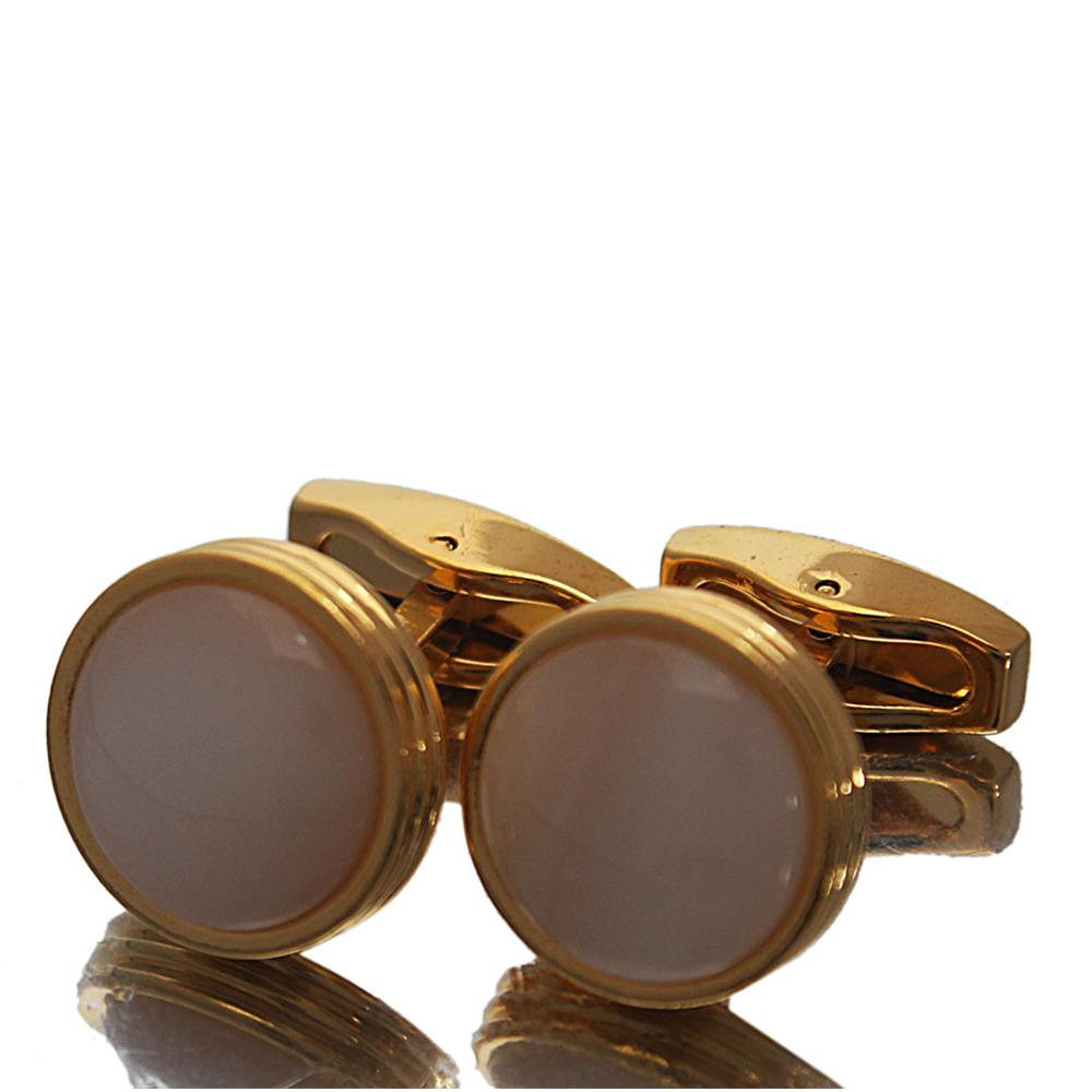 Gold-White-Pearl-Stainless-Steel-Cufflinks