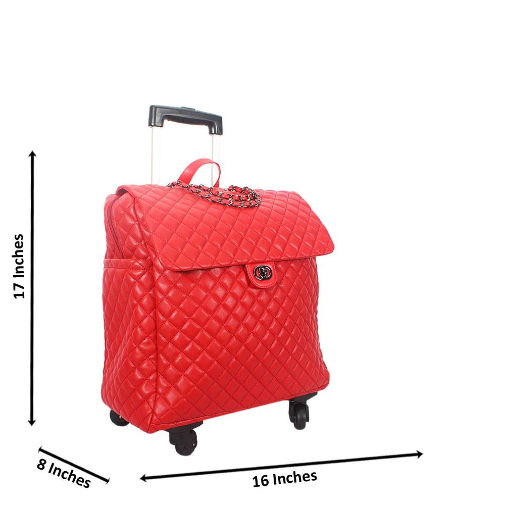 Red 17 Inch Soft Leather Carry On Hand Luggage