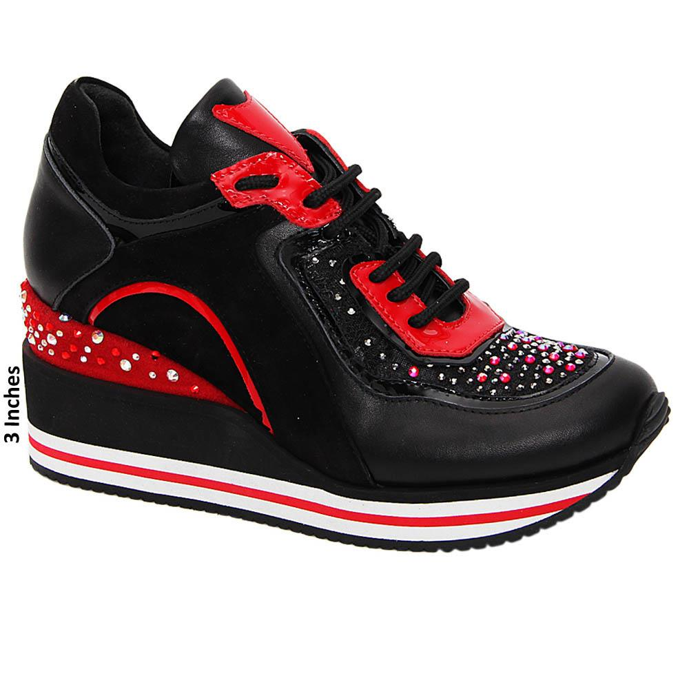 Black April Studded Tuscany Leather Breathable Wedge Sneakers