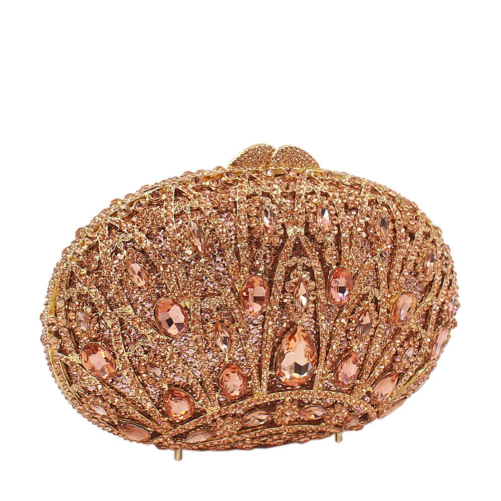 Rose Gold Crown Diamante Crystal Clutch Purse
