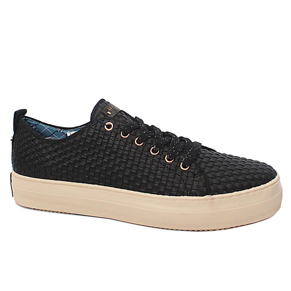 Black Woven Leather Ladies Sneakers