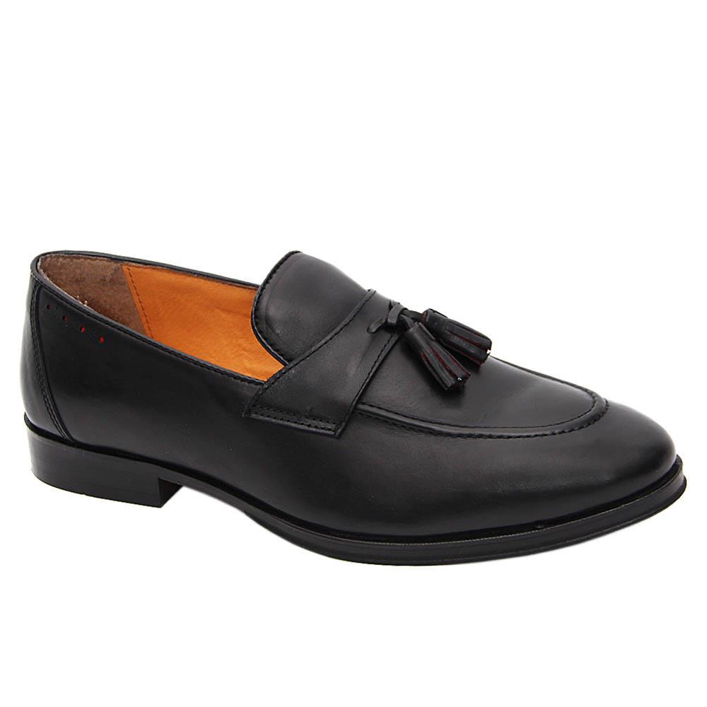 K Geiger Black Lewis Leather Tassel Loafers