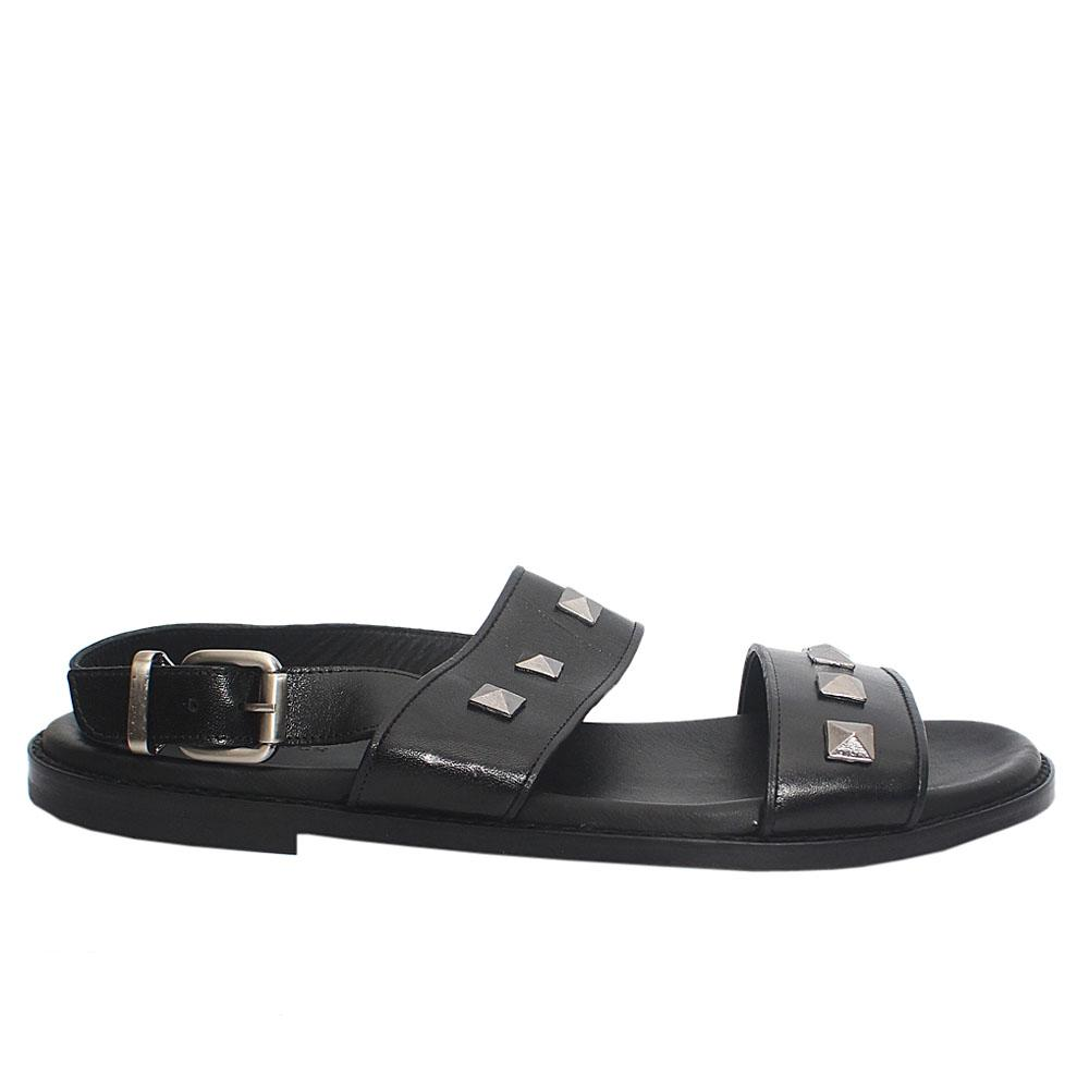 Black Studded Italian Leather Men Sandals