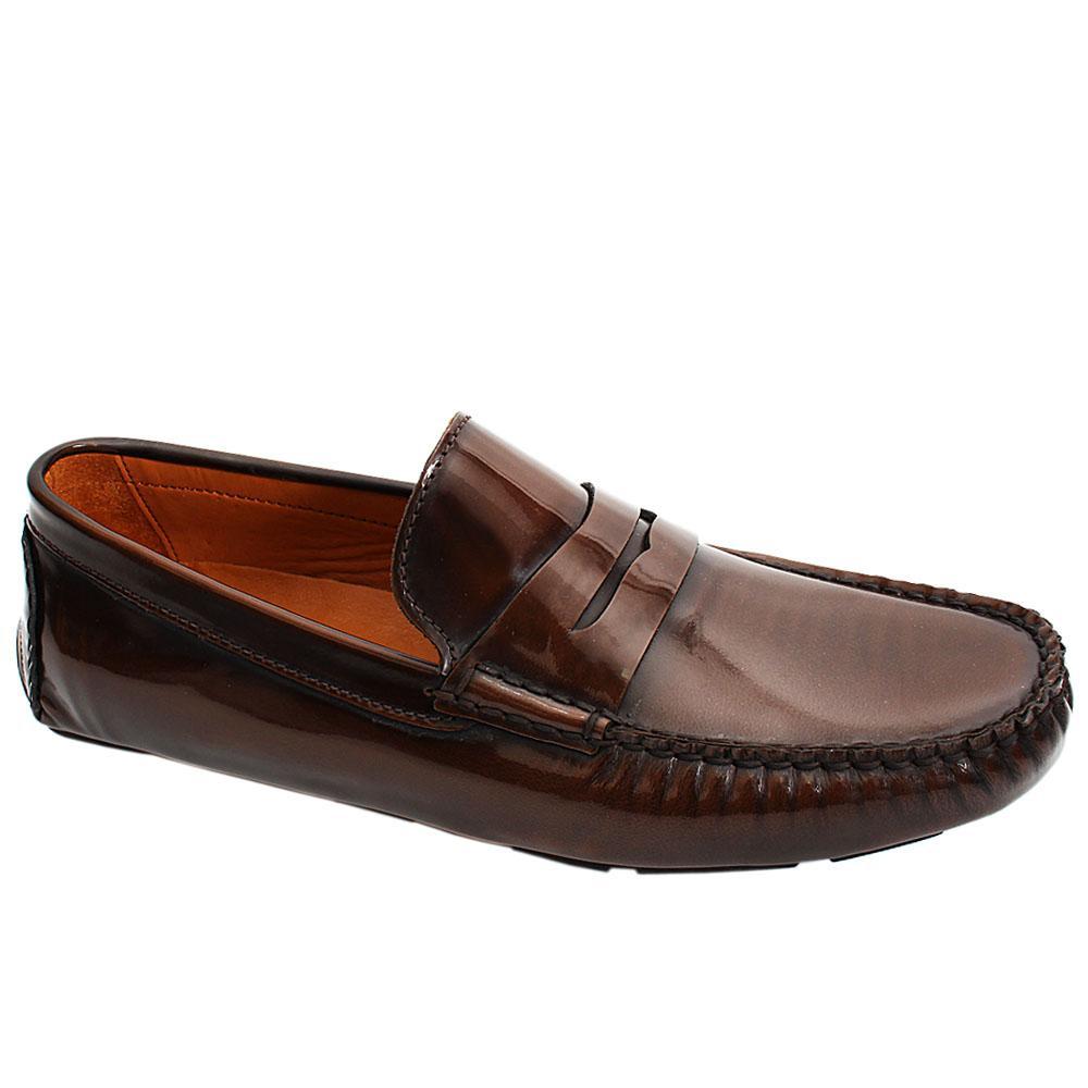 Coffee Brown Ernesto Patent Italian Leather Men Drivers Shoe