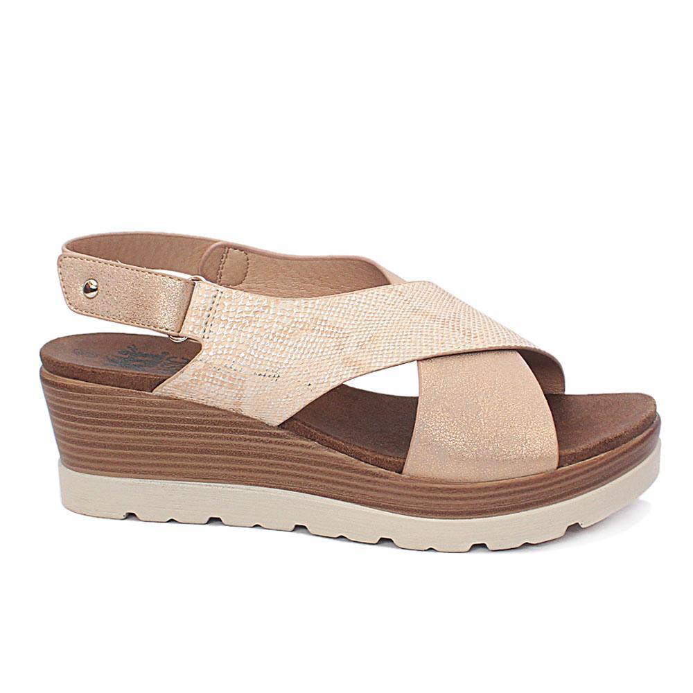 Xti Beige Brianna Leather Wedge Sandals