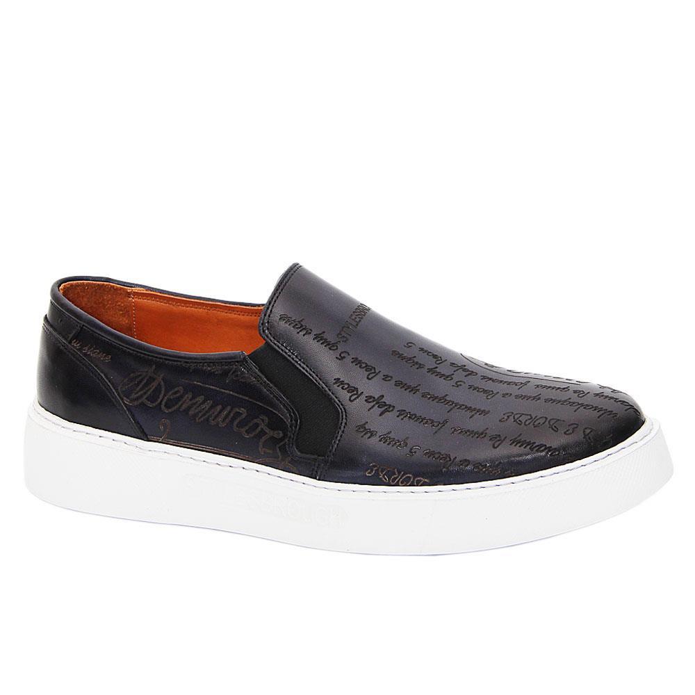 Dark Navy Julio Caesar Italian Leather Slip-On Sneakers