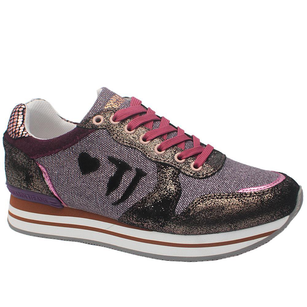 Sz 41 Trussardi Purple Shimmering Suede Sneakers