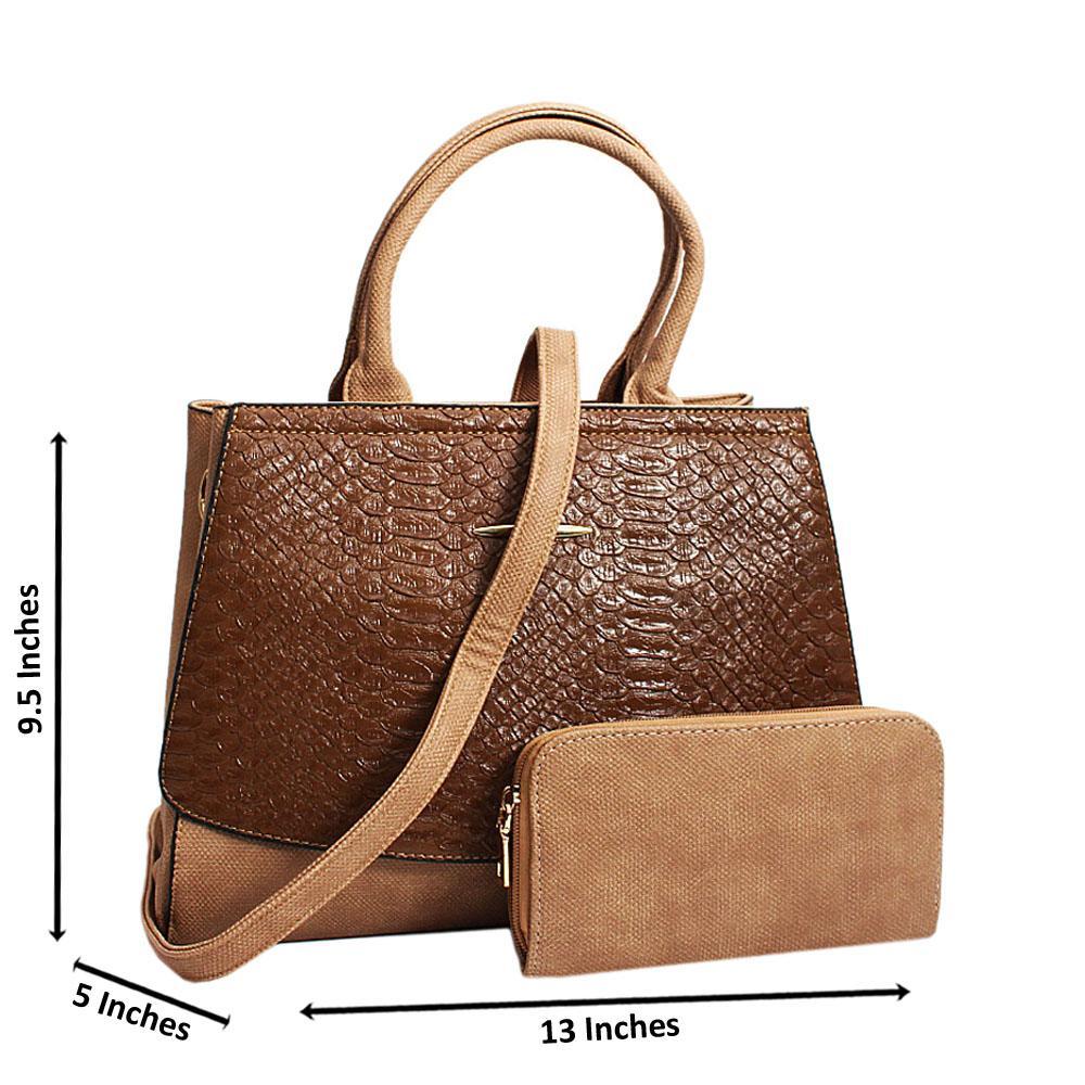 Khaki Brown Elisa Croc Leather Medium Tote Handbag