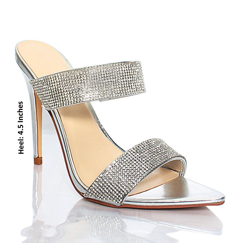 Silver Crystal Studded AM Tonya Leather High Heels