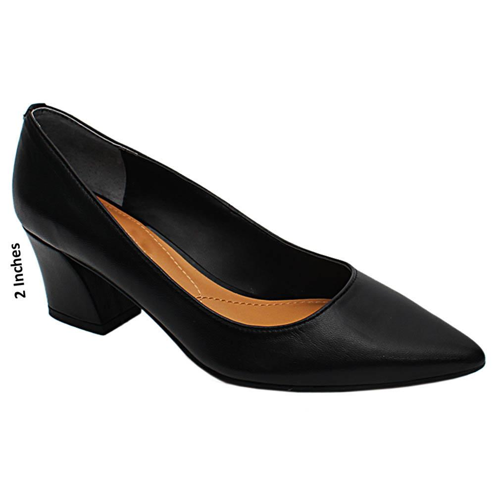 Black Isabella Leather Mid Heel Pumps
