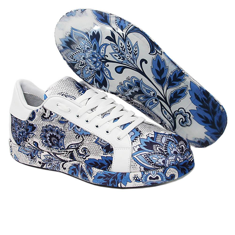 Blue Mckenzie Studded Fabric Leather Sneakers