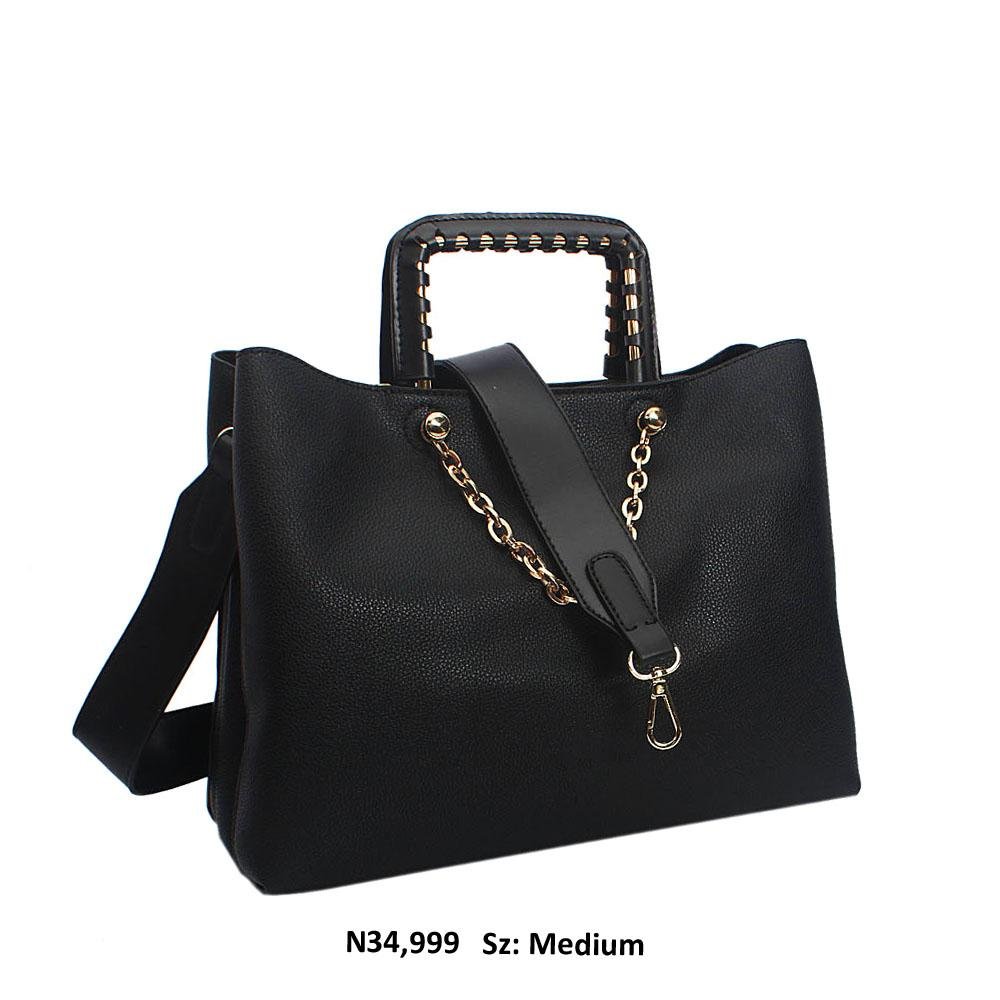 Black Bria Leather Metallic Handle Tote Handbag