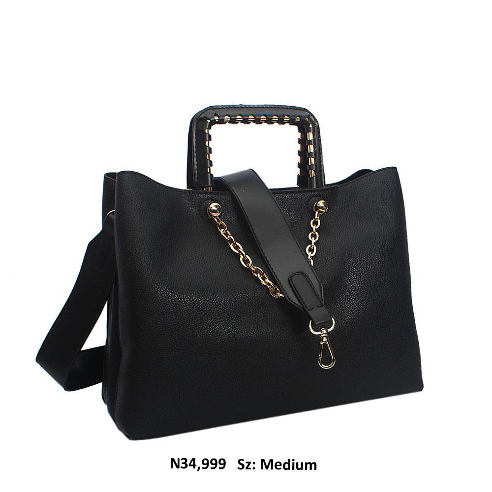 Black Bria Leather Metallic Handle Tote Handbag