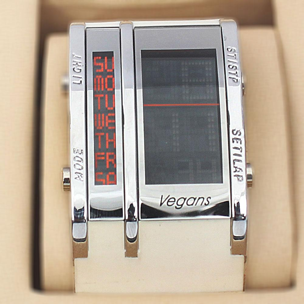 Vegans White Rubber Square 5 ATM Water Resistant Analog Digital Watch