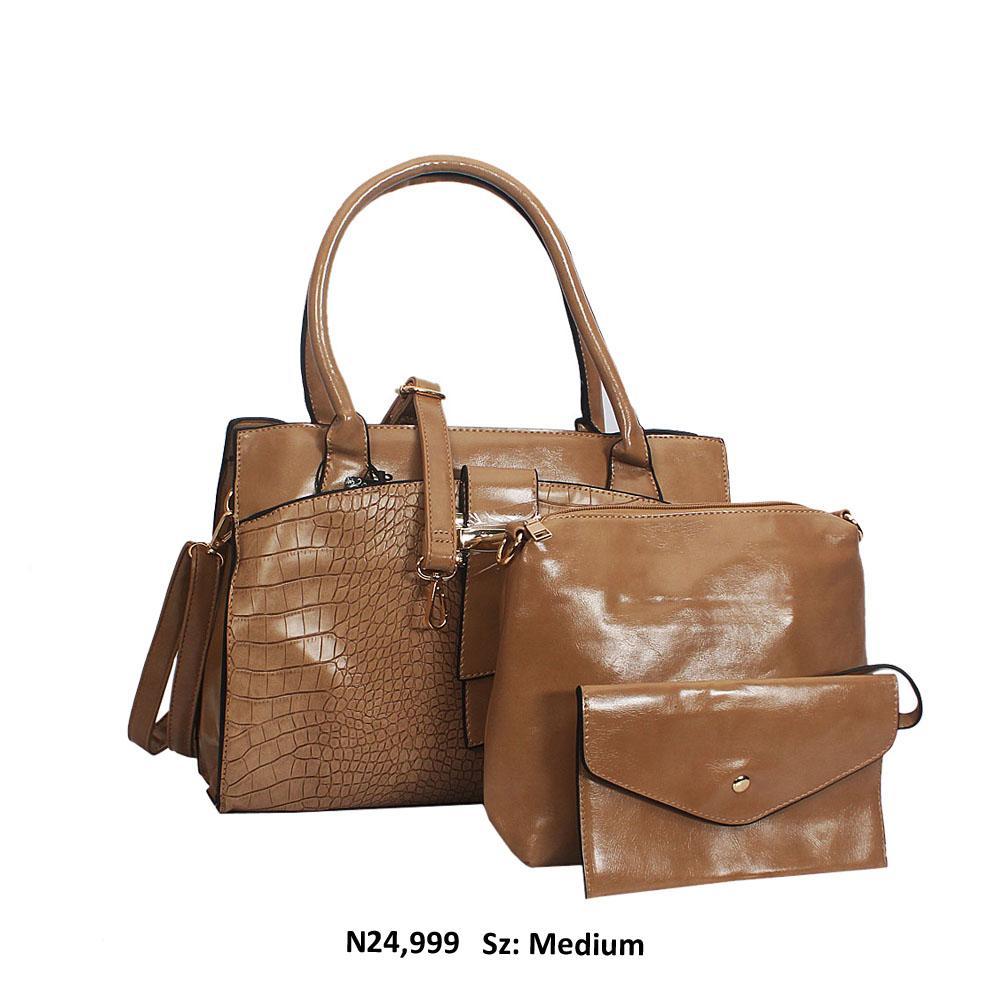 Khaki Maya Croc Style Leather Tote Handbag