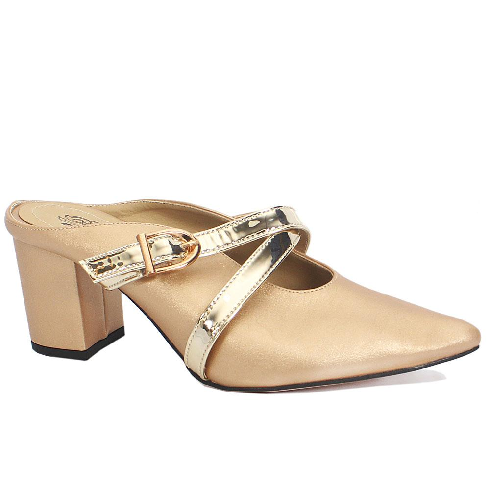 Gold Leather Pointed Toe Block Heel Ladies Shoes Wt Buckle