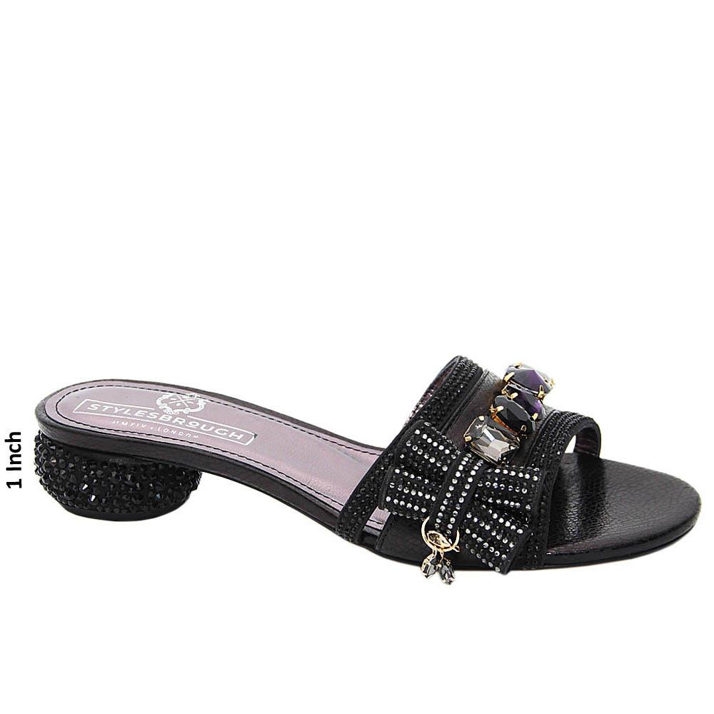 Black Maya Studded Italian Leather Low Heel Mule