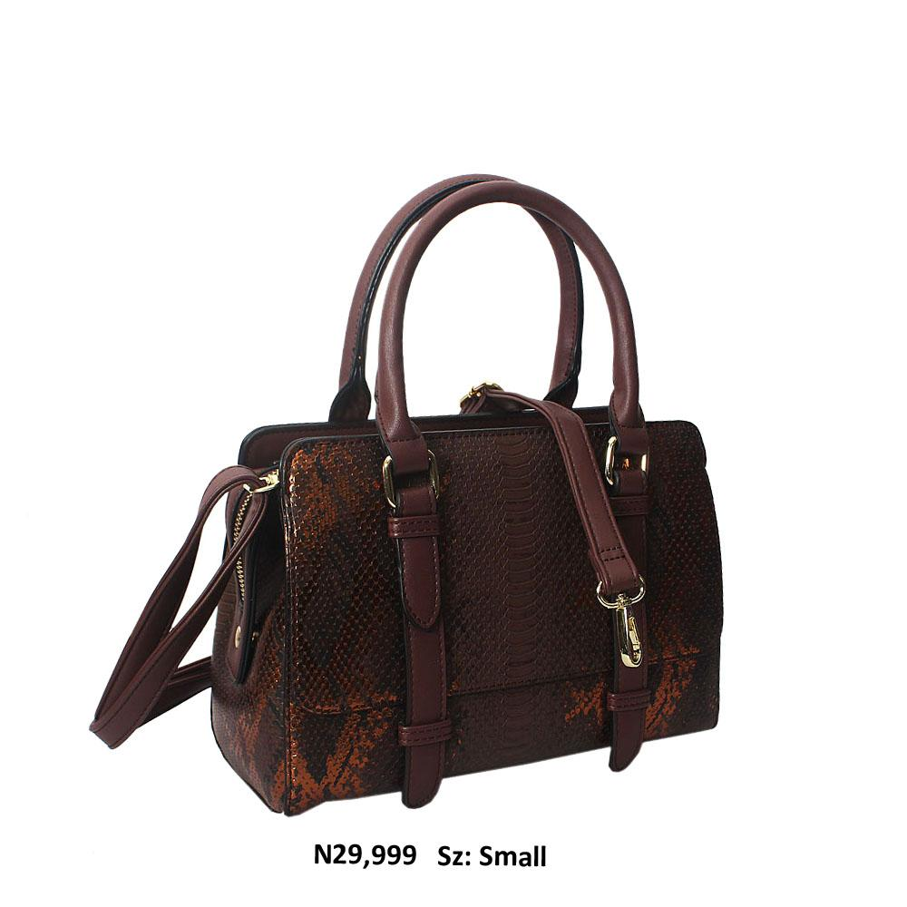 Coffee Nadia Snakeskin Style Leather Tote Handbag