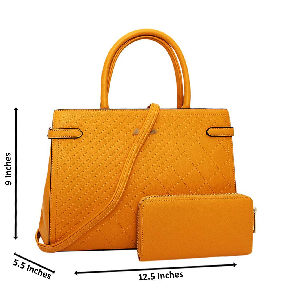 Yellow-Electra-Leather-Medium-Tote-Handbag