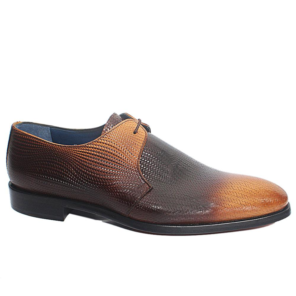 Brown Taba Woven Style Italian Leather Men Oxford