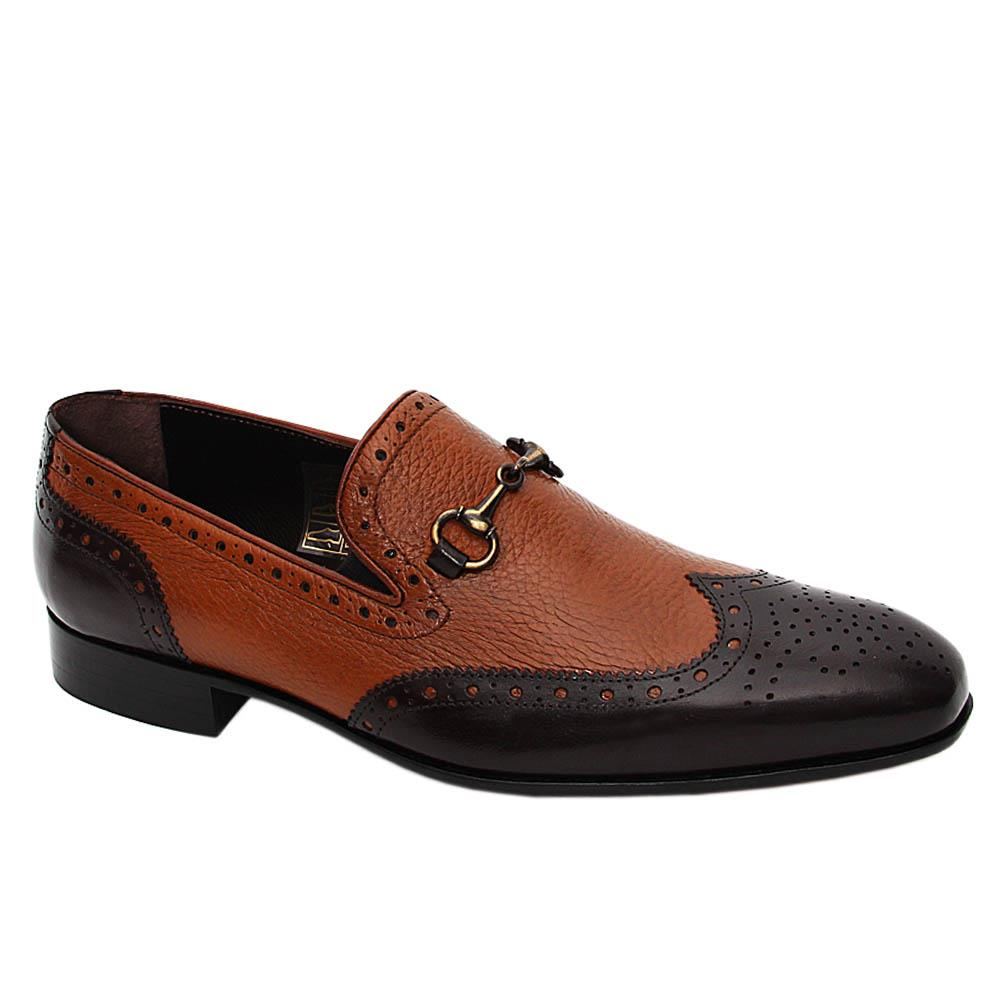 Coffee Buffalo Italian Leather Horsebit Loafers