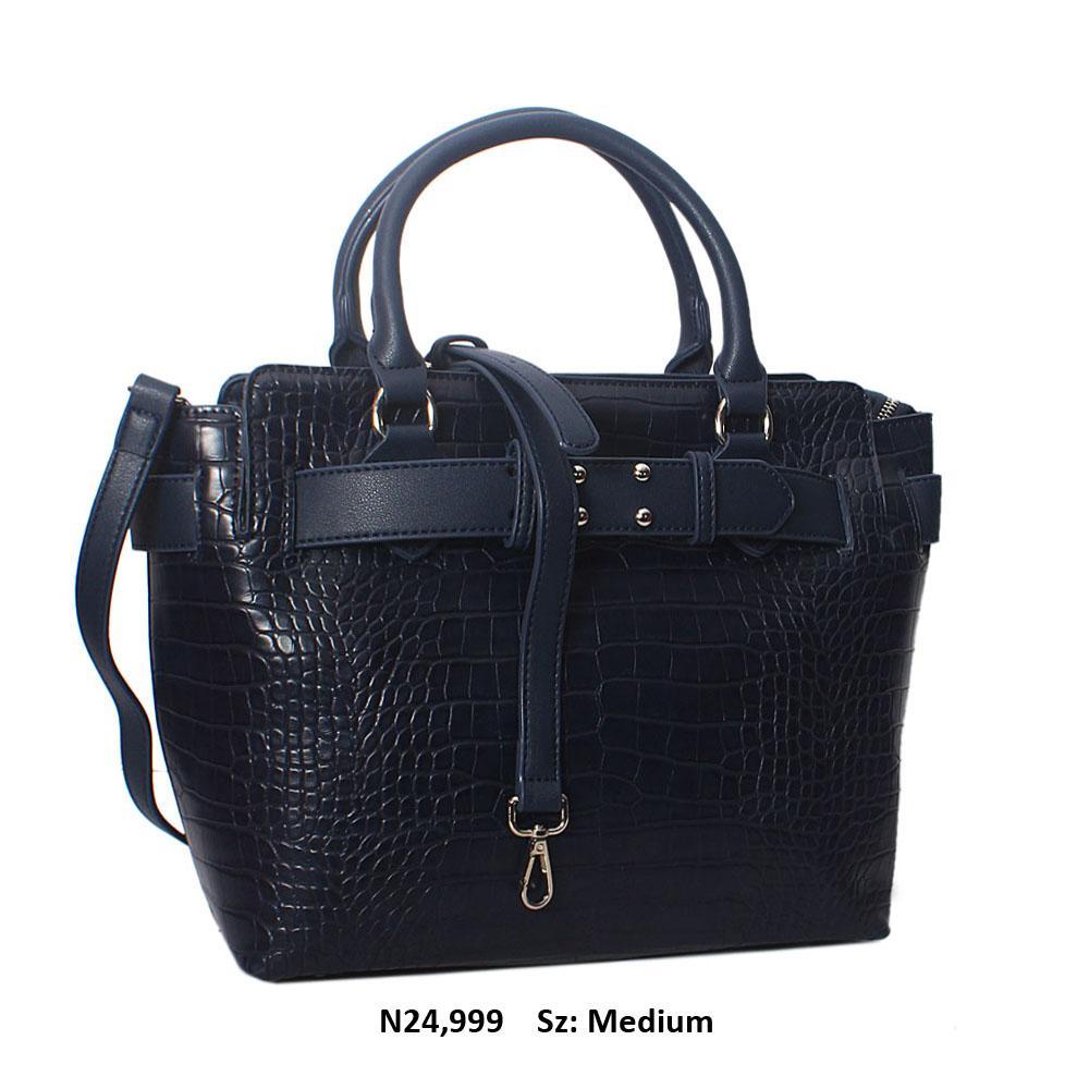 Navy Kayla Croc Leather Tote Handbag