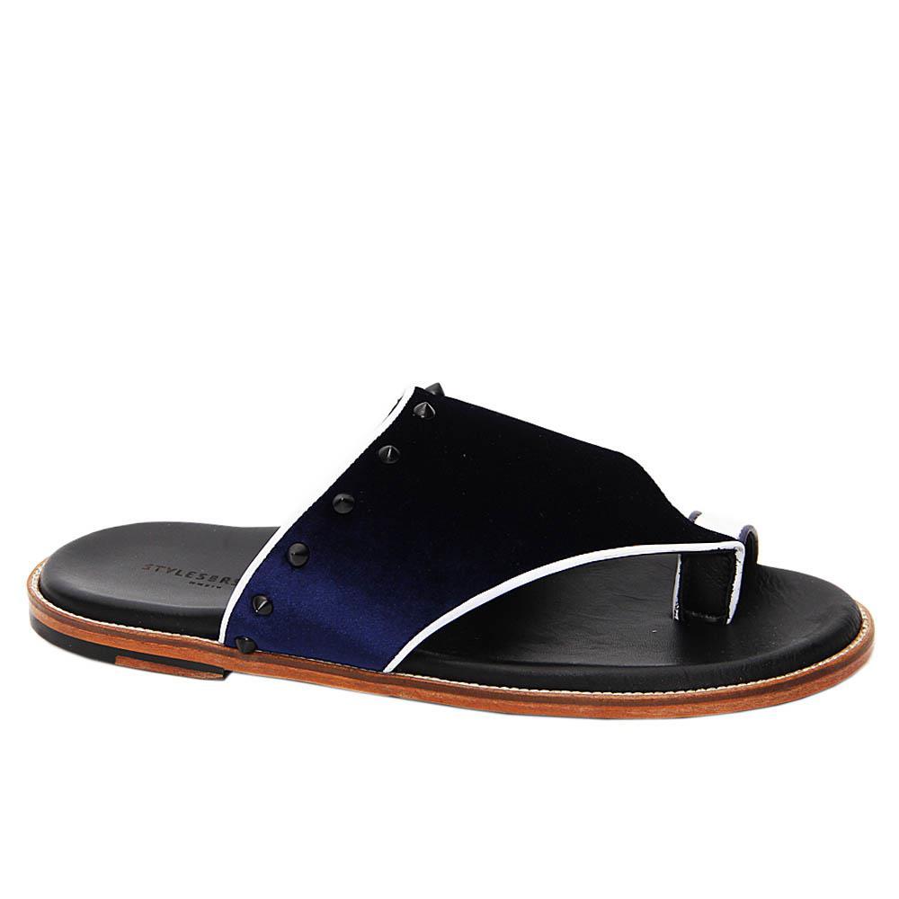 Dark Navy Salvador Velour Italian Leather Slippers