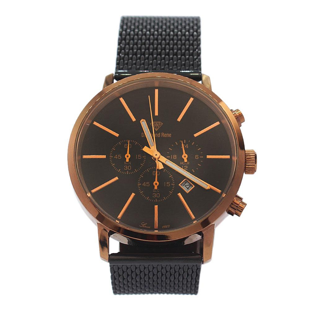 DR 5ATM Gold Black Mesh Chronograph Watch