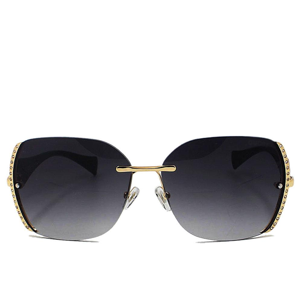 Black Round FWide Fit Sunglasses