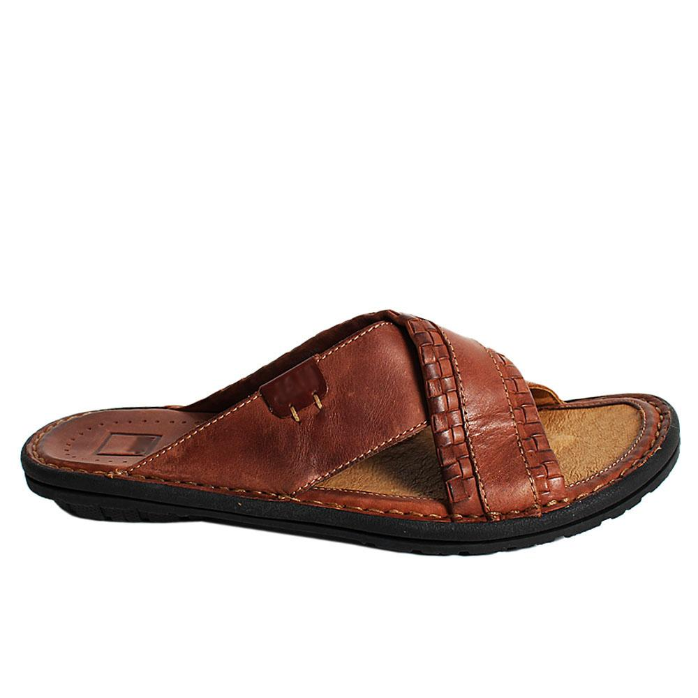 Brown Woven Styled Rugged Leather Men Slippers