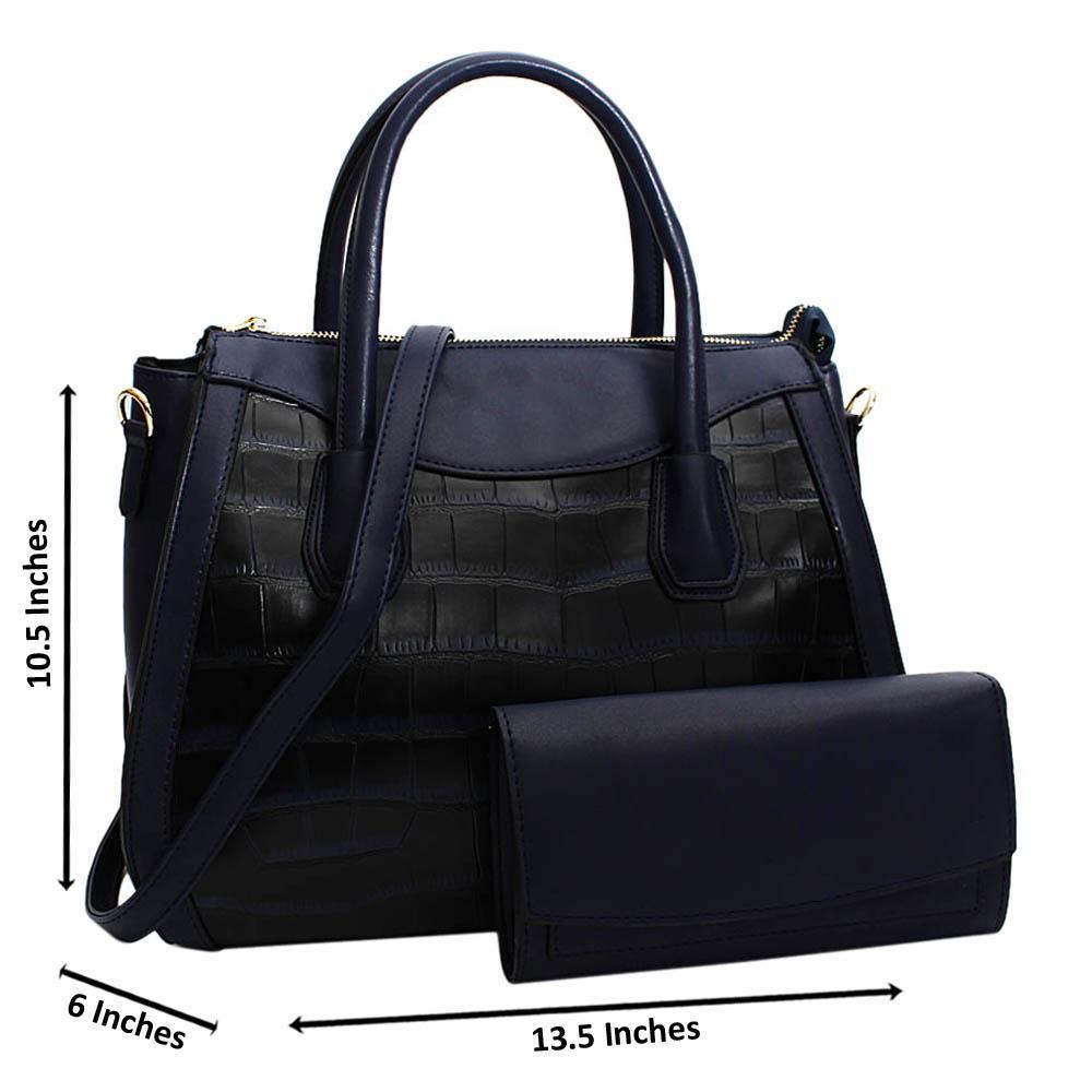Navy Royalty Mix Croc Leather Medium Tote Handbag