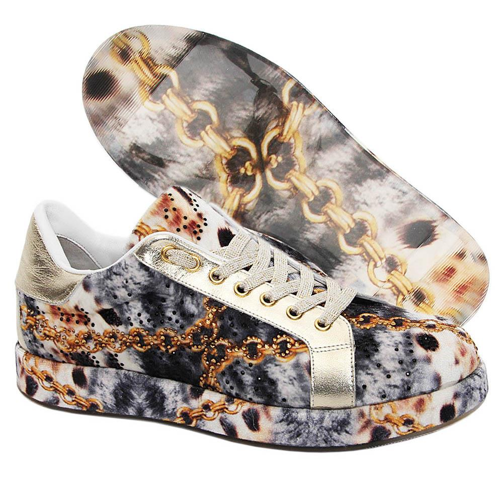 Gray Kerry Studded Velour Italian Leather Unisex Sneakers